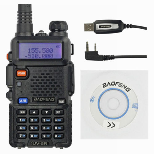 Baofeng UV-5R Kit 136-174/400-520 MHz Walkie Talkie 5W UHF&VHF Dual Band Portable Ham Radio +Programming Cable&CD uv5r(China (Mainland))