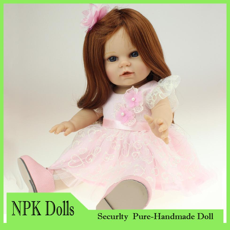 18'' 45CM AMERICAN GIRL Long Wavy hair Reborn Baby dolls full handmadere SOFT silicone vinyl newborn baby doll toys girls gift(China (Mainland))