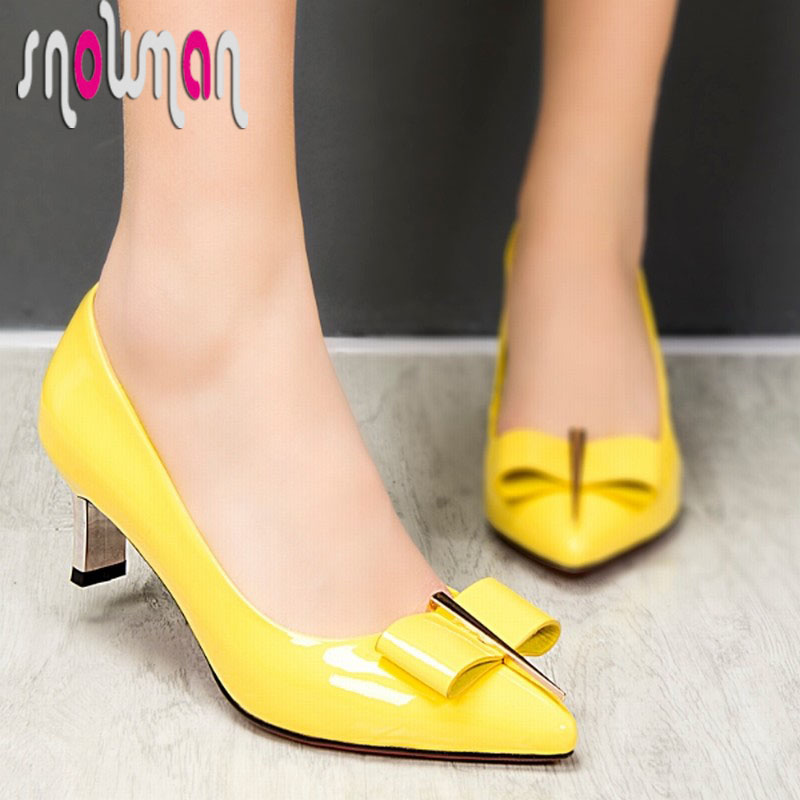 Genuine Leather Women Pumps Metal Charm Bow tie Red Bottom Shoes Med Heels Pointed toe Cow Woman 2016