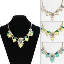 Hot New Summer Jewelry Statement Rhinestone Necklaces & Pendants Fashion Bubble Acrylic Flower Necklace For Women Collar Jewelry(China (Mainland))