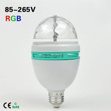 1Pcs 6W Full Color RGB LED Auto Rotating Stage light E27 AC85V - 265V Disco DJ Party Club Bulb for Holiday Dance Decoration lamp(China (Mainland))