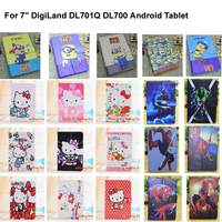 """Kids Gifts Congelados Yellow Minion Hello Kitty 7 inch PU Leather Case Cover For 7"""" DigiLand DL701Q DL700 Android Tablet"""