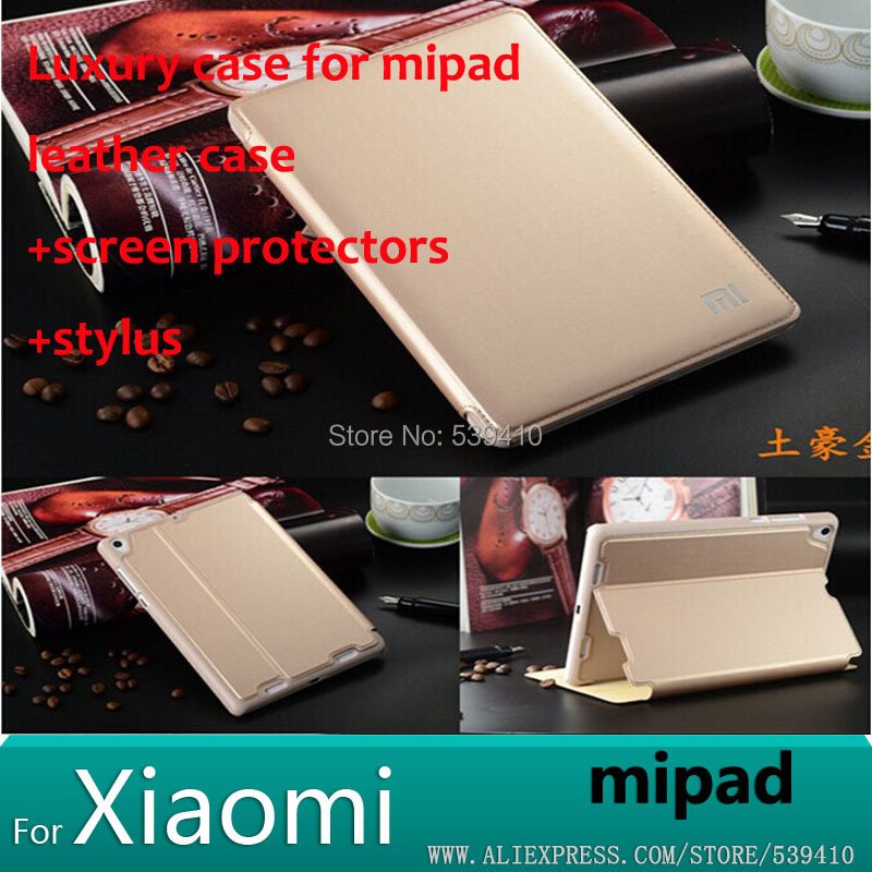 Luxury Smart Leather Case Cover for Xiaomi Mi Pad Xiaomi Pad 7.9 tablet Cases Xiaomi MiPad Case + screen protectors +stylus(China (Mainland))