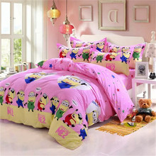 Pink And Yellow Minions Comforter Set Sweet Comforter Bedding Bed Comforters Sets For Kids(China (Mainland))