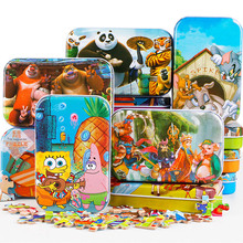 60pcs Cartoon 3D Puzzle with Iron Box for Children, Jigsaw Puzzle Early Educational Montessori Toys Wooden toys for kids(China (Mainland))