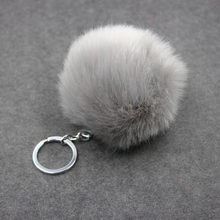 8 cm fofo pompon coelho bola de pele chaveiro anel feminino falso pele de coelho pom pom chaveiro saco encantos trinket jóias de casamento presente(China)
