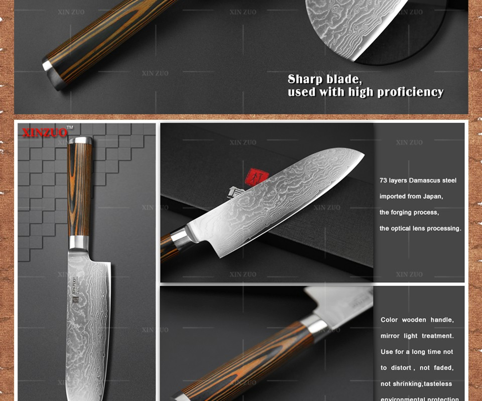 "Buy XINZUO 7"" inch Japanese chef knife Damascus steel kitchen knives sharp japanese VG10 santoku knife wood handle free shipping cheap"