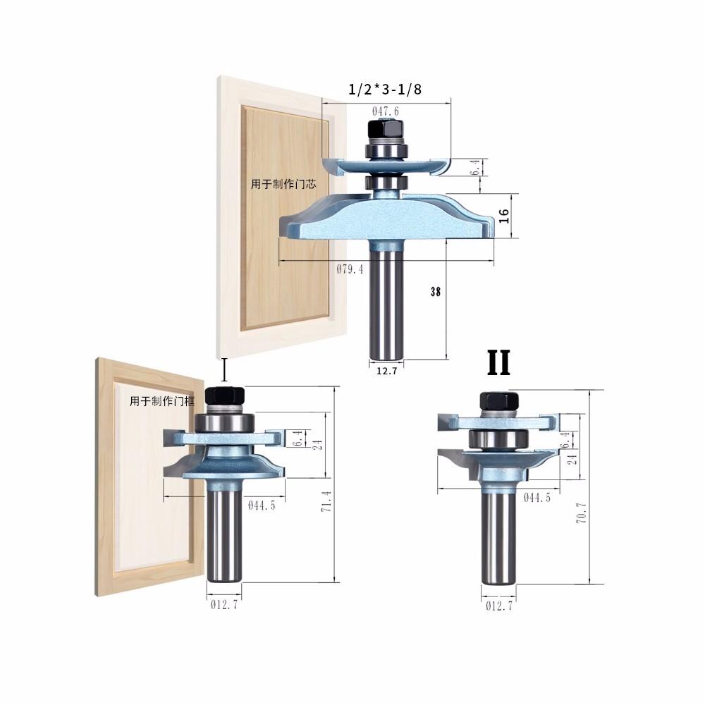 Buy SHINA 1/2 -Shank 3PCS  Frame Cabinet Door Knife Tenon Woodworking Milling Cutter For Door Core & Door Frame cheap