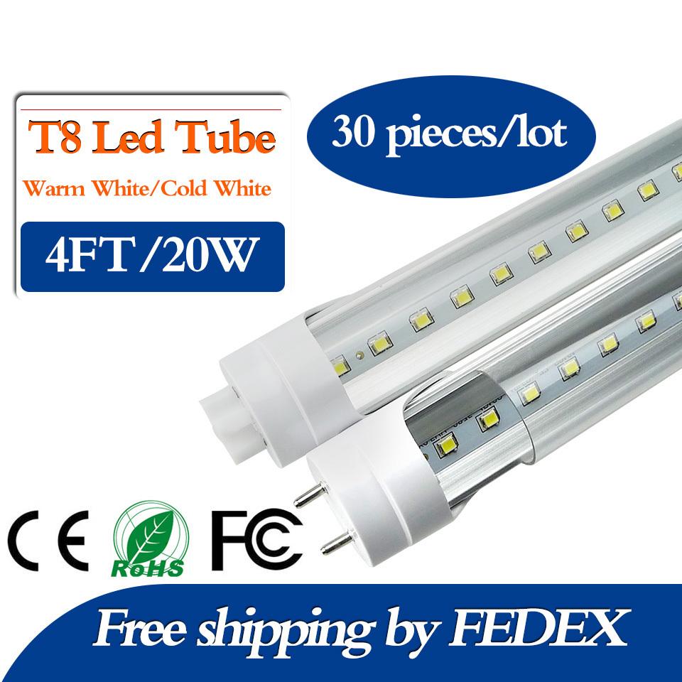 FEDEX Free 20W 4Ft Feet T8 1200mm Led Tube Light AC85-265V G13 SMD2835 Led lights Super Bright 2000lm Living Room Bedroom(China (Mainland))