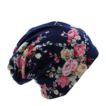 Surprise Price New Fashion 2 Used Women Flower Hat Scarf Knit Autumn Caps 4 Colors Casual Beanies Skullies Solid Bonnet Sale(China (Mainland))