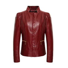 2016 New Fashion Women Leather Jacket Long Sleeve Slim PU Faux Leather Soft Jacket Blazer Red Plus Size Women Coat 5XL 6XL B3770(China (Mainland))