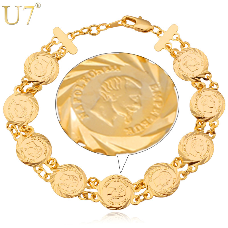 France Coin Napoleon Bracelets Men Women Jewelry Wholesale Trendy 18K Real Gold Plated Link Chain ID Bracelets & Bangles H355(China (Mainland))