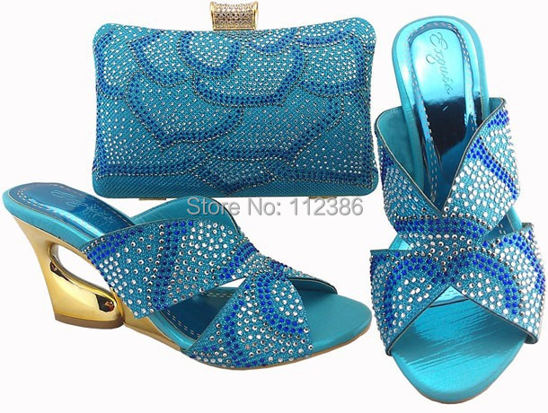 Free Shipping Open Toe Royal Blue Crystal High Heel Bridal Wedding Shoes And Bags Matching Set