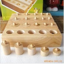 Free Shipping!Wooden toys Montessori Educational Cylinder Socket Blocks Toy Baby Development Practice and Senses