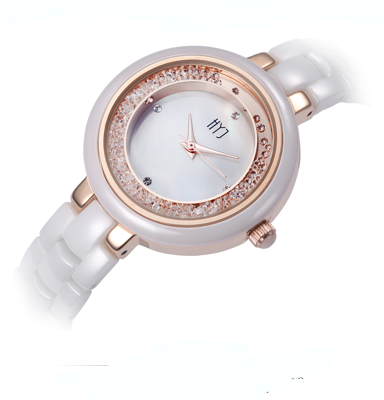 HYJ  Pearl shell ceramic watch female white ceramic rhinestone table fashion waterproof ladies quartz watch women  relojes H254<br><br>Aliexpress