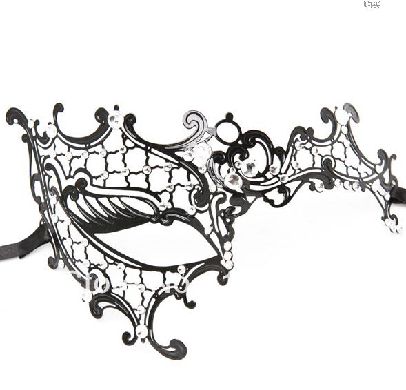 Free Shipping 1X Luxury Filigree Black Metal Mask Venetian Masquerade Masks With Crystal Rhinestone(China (Mainland))