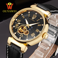 HOT OUYAWEI Mechanical Men s Watch Skeleton wristwatch Man watches Leather Relogio Masculino Luxury Fashion Casual