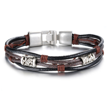 Multi-Layer Genuine Leather Men Bracelet Fashion Silver Bracelet For Men's Brown Leather Male Bracelet Accessories Jewelry