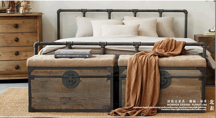 pays d 39 am rique loft r tro style industriel fer forg lit lits en fer forg fer forg lit 1 8 m. Black Bedroom Furniture Sets. Home Design Ideas