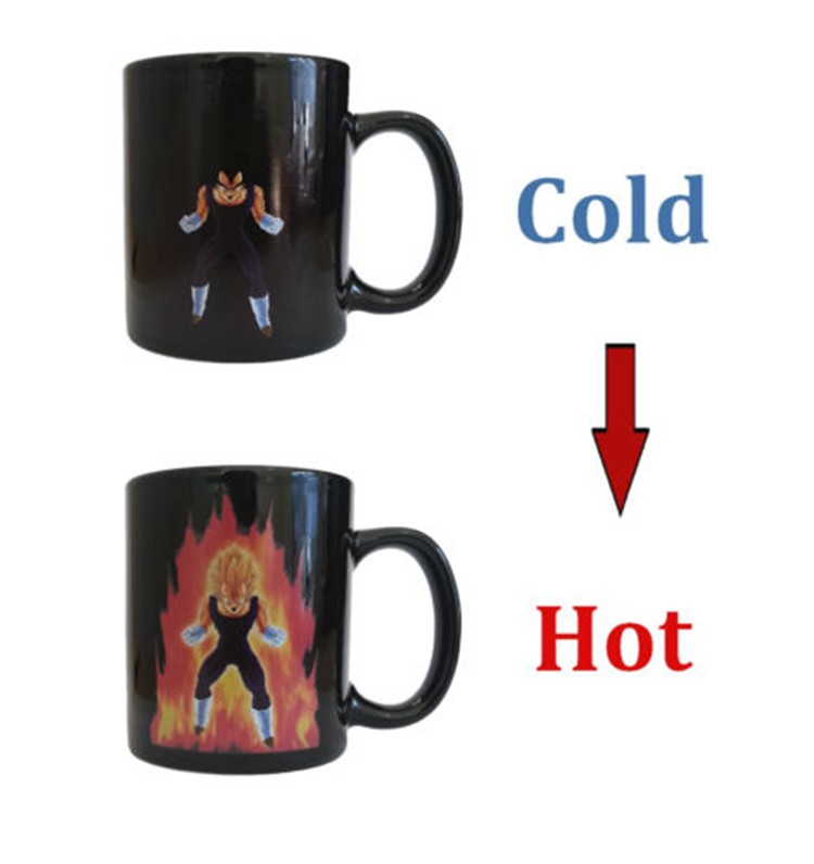 HOT SALE Dragon Ball Z SON VEGETA Color Changing Coffee Mug Heat-sensitive Reactive ceramic cup(China (Mainland))