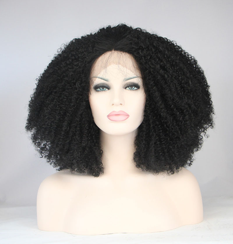 2015 New products heavy density black hair 8-24inch synthetic afro kinky curl lace front wigs heat resistant wig free shipping<br><br>Aliexpress