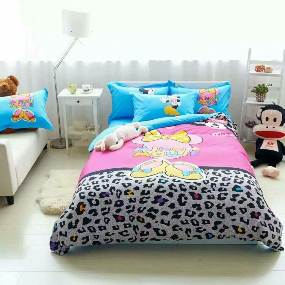 High quality Hot Sale Girls Minnie Mouse Pink Bedding set cotton Twin Full Queen Kids brand duvet cover flat sheet pillowcases(China (Mainland))