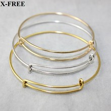 Vintage silver gold plated adjustable expandable wire bangles bracelet 6.5cm for charms diy cheap fashion jewelry 12pcs/lot(China (Mainland))