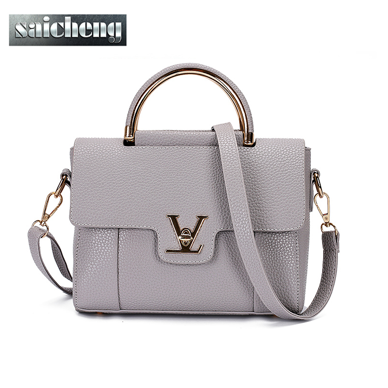 2016 Women V Letters Saffiano handbags Women Leather Commuter Office Ring tote bag Women's Pouch Bolsas Famous Ladys V Flap bag(China (Mainland))