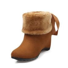 MoonMeek bán 2020 ấm nữ mùa đông Ủng Bowtie đàn người phụ nữ giày sang trọng mũi nhọn cổ chân giày lớn kích thước giày(China)