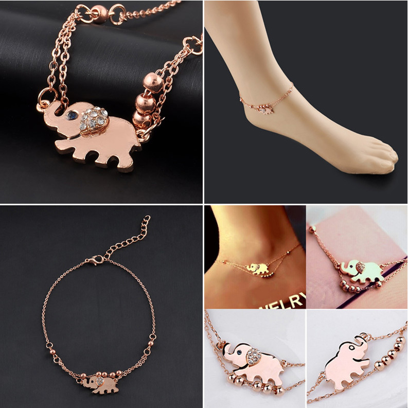 Sexy Sandalias Beach Rhinestone Elephant From India Barefoot Chain Ankle Bracelet Foot Jewelry Anklets For Women