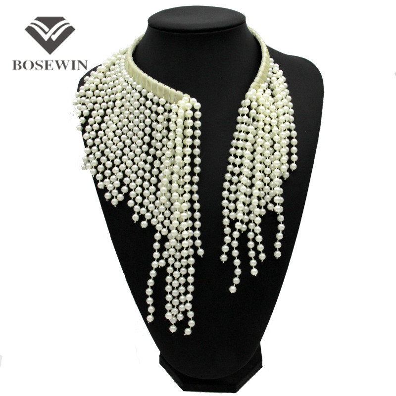 Мода шарм крутящий момент имитация жемчуга кисточка чокеры ожерелья женщин 2016 бусины биб воротник себе ожерелья и кулоны CE3830