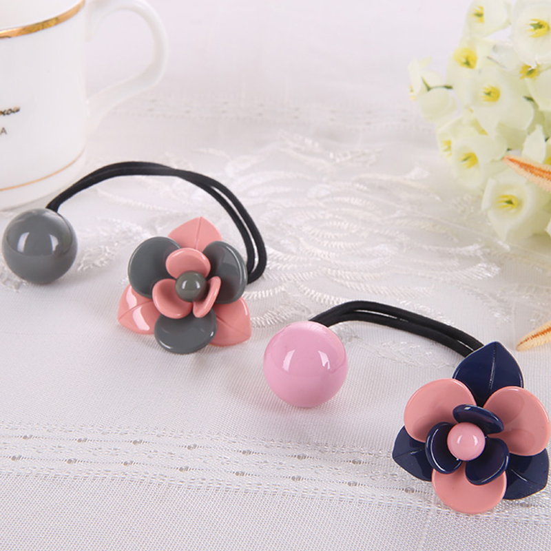 New Korean Fashion Women Hair Accessories Cute Elastic Hair Bands Girl Hairband Hair Rope Gum Rubber Band flower design A0086(China (Mainland))