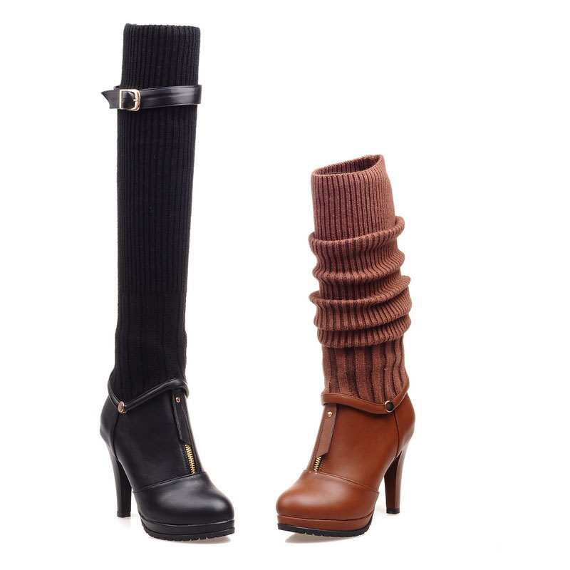 2015 Winter New comfortable and fashion half boots solid color high heeled boots round toe zipper half boots for womenD3455<br><br>Aliexpress