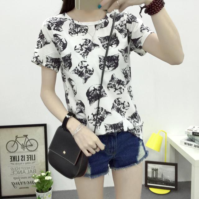 Бесплатная доставка 2016 лето новинка женщин футболки корейской сладкий кот печатные дамы с длинным рукавом завод точек