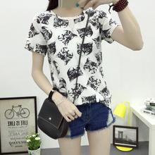 Free Shipping 2016 Summer New Fashion Women T-shirt Korean Sweet Cartoon Cat Printed Ladies Short Sleeve Tops Factory Outlets(China (Mainland))