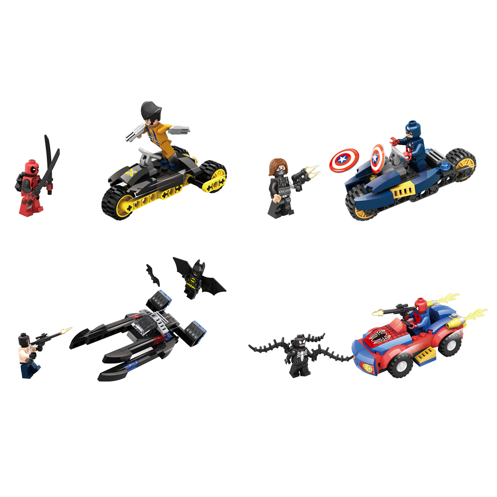 4pcs/lot Super Hero Avenger with ChariotKid Baby Toy Mini Figure Building Blocks Sets Model Toys Minifigures Brick<br><br>Aliexpress