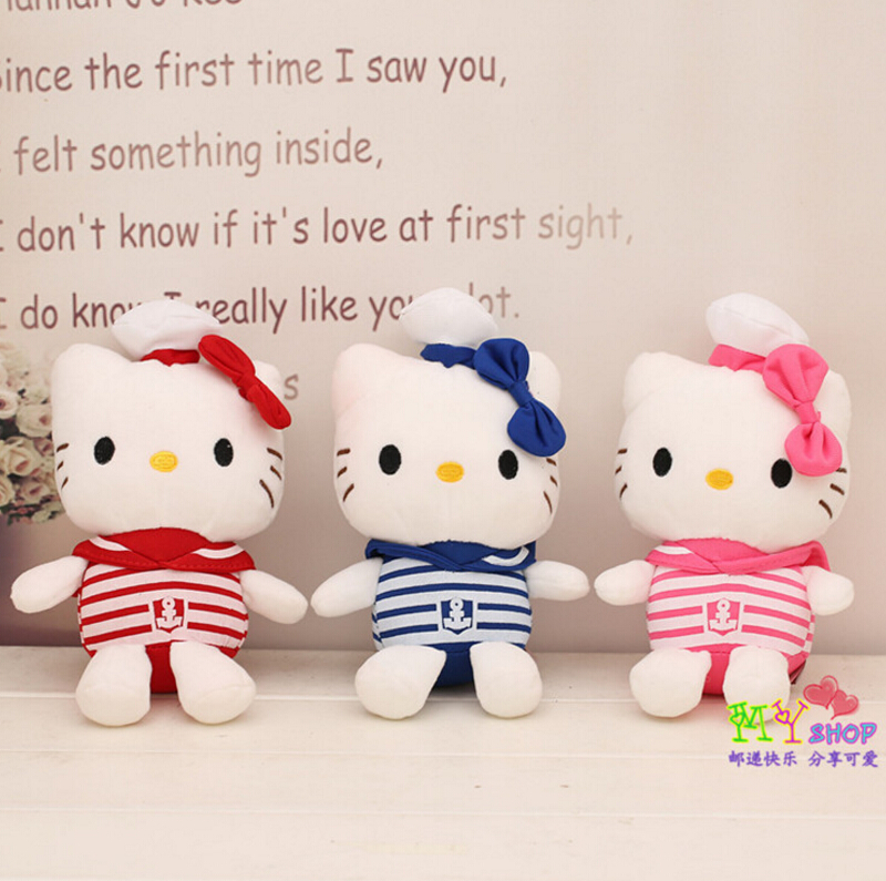 20CM Hello Kitty doll stripe wedding service plush toys(China (Mainland))