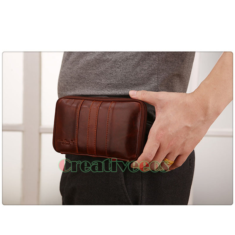 2015 New Men Genuine Leather Vintage Cell/Mobile Phone Cover Case Skin Hip Belt Bum Purse Fanny Pack Waist Bag Clutch Pouch(China (Mainland))