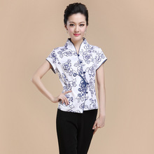 Hot Sale Summer Cotton Chinese Style Women Tang Suit Tops Blouse Vintage Traditional Chinese Shirt M L XL XXL XXXL 4XL T18