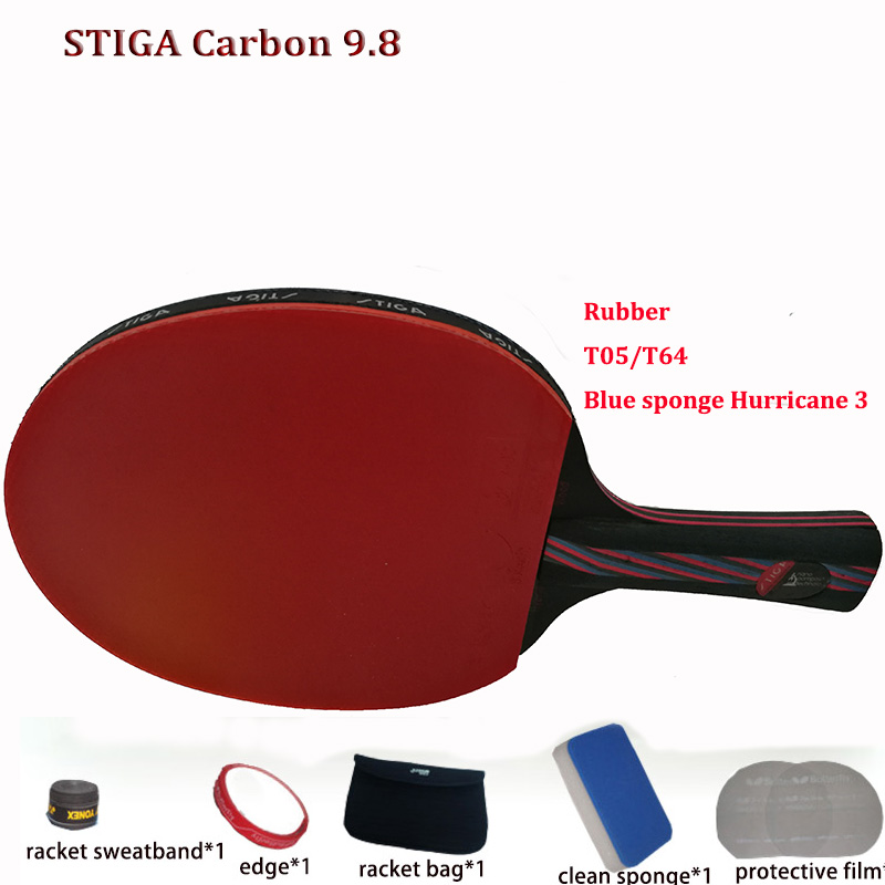 New Update Table tennis racket pat set Carbon Hybrid Wood 9.8 rubber 05/64+Blue sponge Hurricane 3,ping pong paddle FastShipping(China (Mainland))