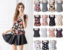 2016  New  Blouse Women's Sleeveless  Loose Render Printed Chiffon Unlined Upper Garment Vest Tank Top Plus Size Hot Sale
