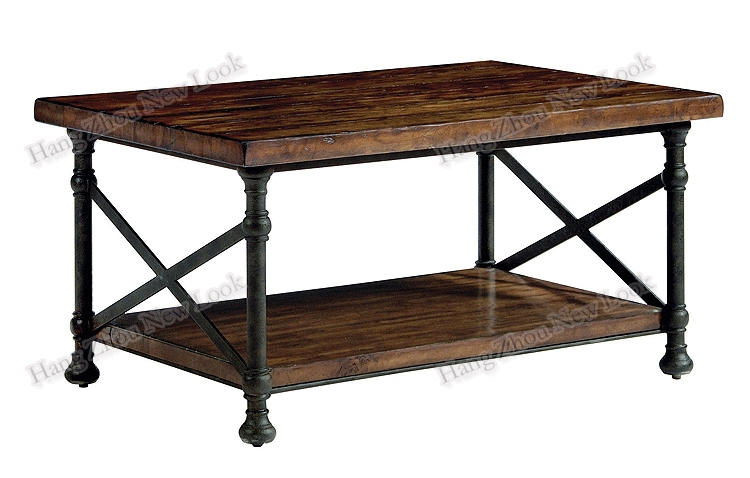 American Country Loft Style Wrought Iron Antique Wood Coffee Table Made Of Old Furniture Retro