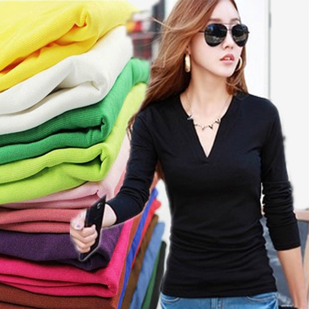 Basic Women V NECK Stretch Long Sleeve Girls Casual Solid T Shirt Tee Tops - Drop& Clothes store