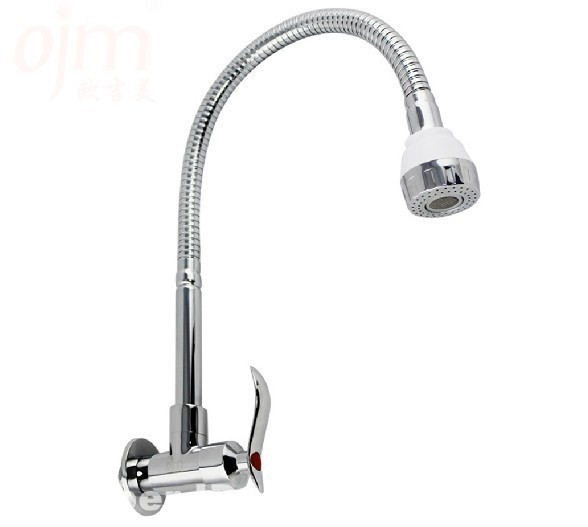 Wall Mounted Single Cold Water Kitchen Sink Faucet Modern Copper
