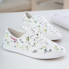 Hot Sale New Brand Style Low Top Flower Women Sneakers Flats Lace Up Girl Canvas Shoes