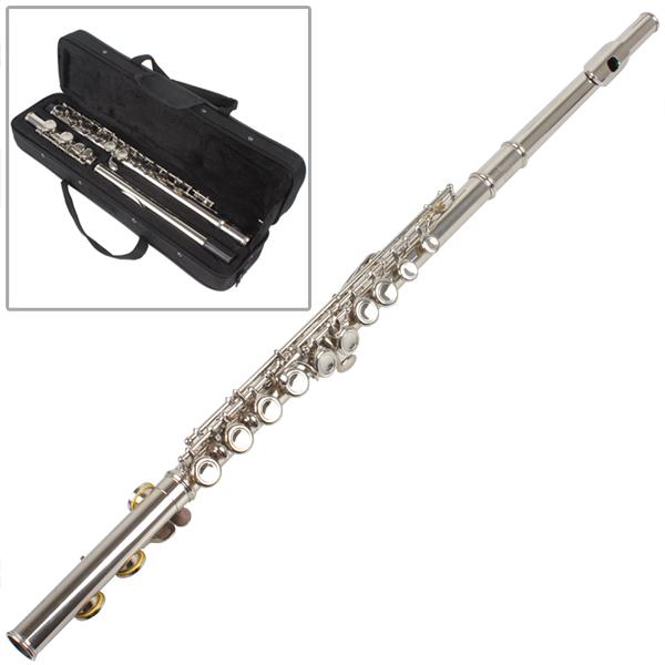 Гаджет  High Quality Silver Plated 16 Closed Holes C Key Flute with Case / Cloth / Screwdriver None Спорт и развлечения