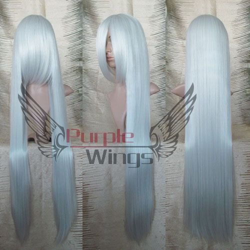 Heat Resistant Anime party Fashion 100CM long straight Silvery White cosplay font b Wig b font