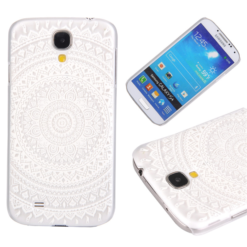 Newest transparent Hard Plastic phone shell coque Cover For Samsung Galaxy S4 i9500 Lattice flower elephant Skin phone cases(China (Mainland))