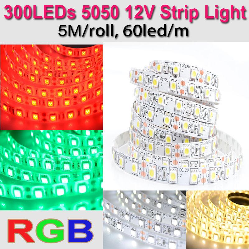Christmas Decoration CE RoHS IP20 IP65 5 m 12V 5050 RGB Light Strip LED Tape Lightings 300leds 16.5ft(China (Mainland))