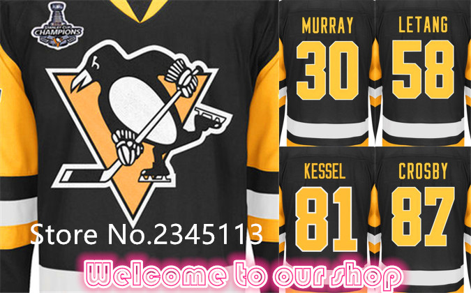 Pittsburgh Penguins Hockey Jerseys #87 Sidney Crosby #58 Kris Letang #81 Phil Kessel, 2016 Stanley Cup Champions Premier Jerseys(China (Mainland))